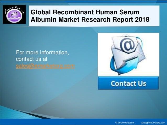 Recombinant Human Serum Albumin Market to Incur Rapid