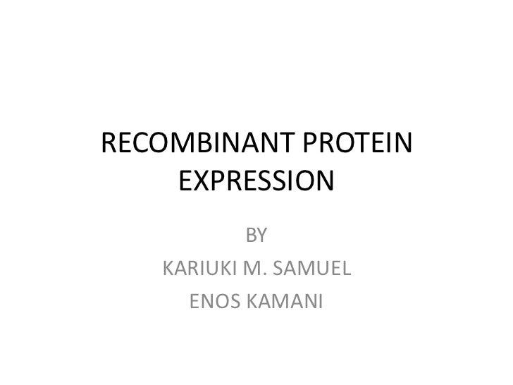 RECOMBINANT PROTEIN    EXPRESSION           BY   KARIUKI M. SAMUEL     ENOS KAMANI
