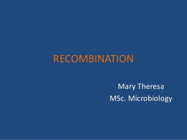 RECOMBINATION Mary Theresa MSc. Microbiology