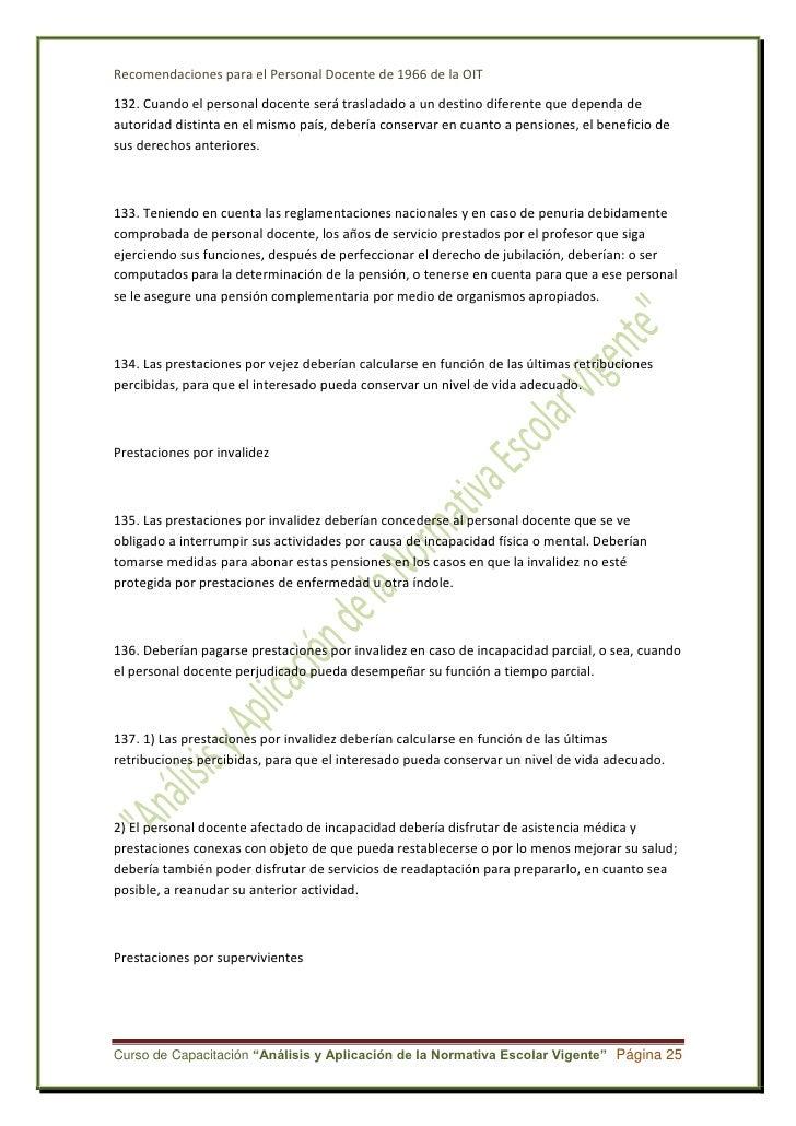 Recomendaciones relativas al personal docente de la OIT