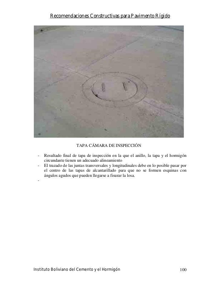 Recomendaciones Constructivas para Pavimento Rígido                              TAPA CÁMARA DE INSPECCIÓN    -   Resultad...