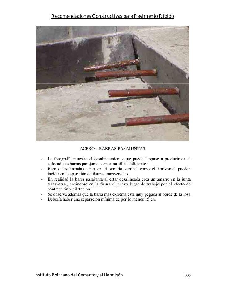 Recomendaciones Constructivas para Pavimento Rígido                             ACERO – BARRAS PASAJUNTAS     -   La fotog...