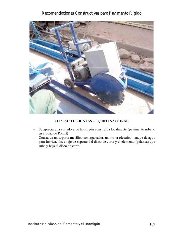 Recomendaciones Constructivas para Pavimento Rígido                       CORTADO DE JUNTAS – EQUIPO NACIONAL     -   Se a...