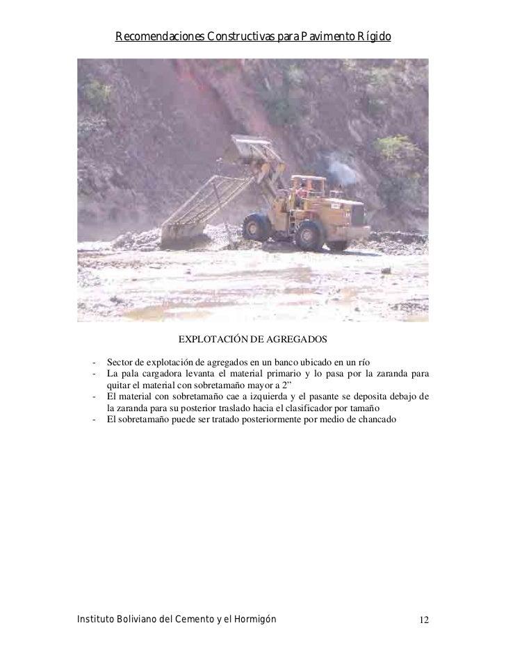 Recomendaciones Constructivas para Pavimento Rígido                             EXPLOTACIÓN DE AGREGADOS     -   Sector de...