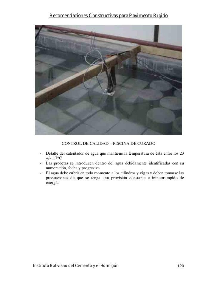 Recomendaciones Constructivas para Pavimento Rígido                     CONTROL DE CALIDAD – PISCINA DE CURADO     -   Det...