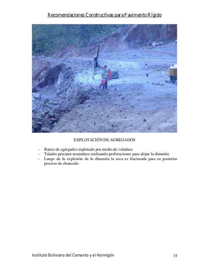 Recomendaciones Constructivas para Pavimento Rígido                            EXPLOTACIÓN DE AGREGADOS     -   Banco de a...