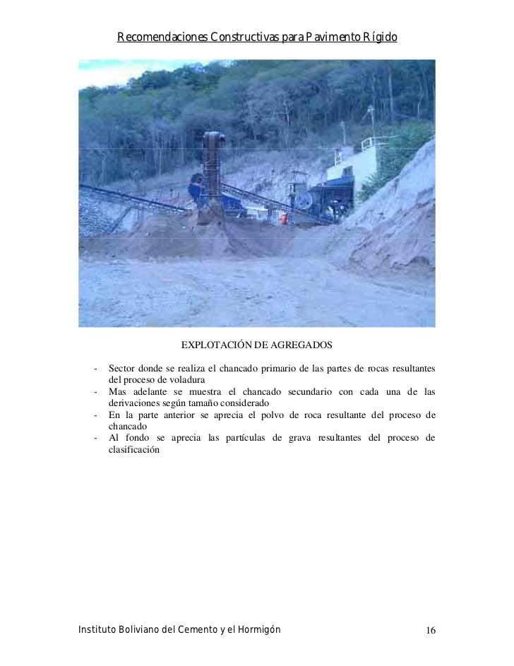 Recomendaciones Constructivas para Pavimento Rígido                             EXPLOTACIÓN DE AGREGADOS     -   Sector do...