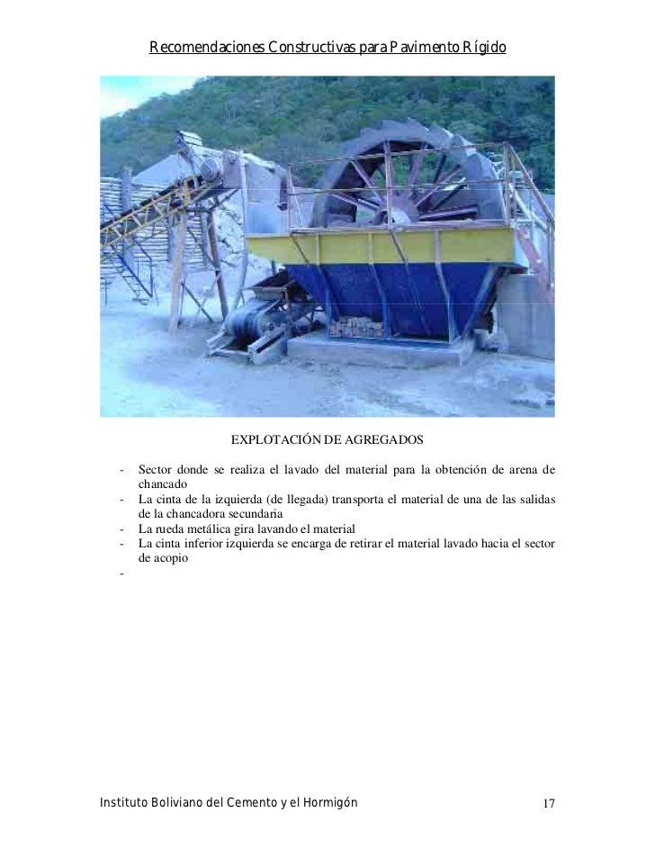 Recomendaciones Constructivas para Pavimento Rígido                              EXPLOTACIÓN DE AGREGADOS     -   Sector d...
