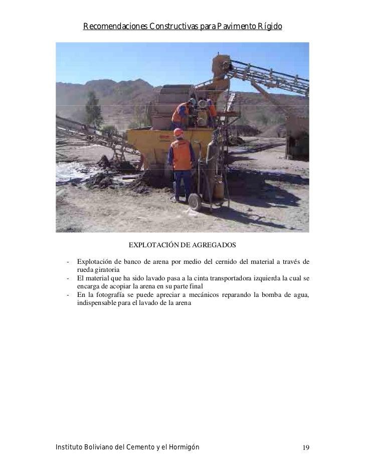 Recomendaciones Constructivas para Pavimento Rígido                              EXPLOTACIÓN DE AGREGADOS     -   Explotac...