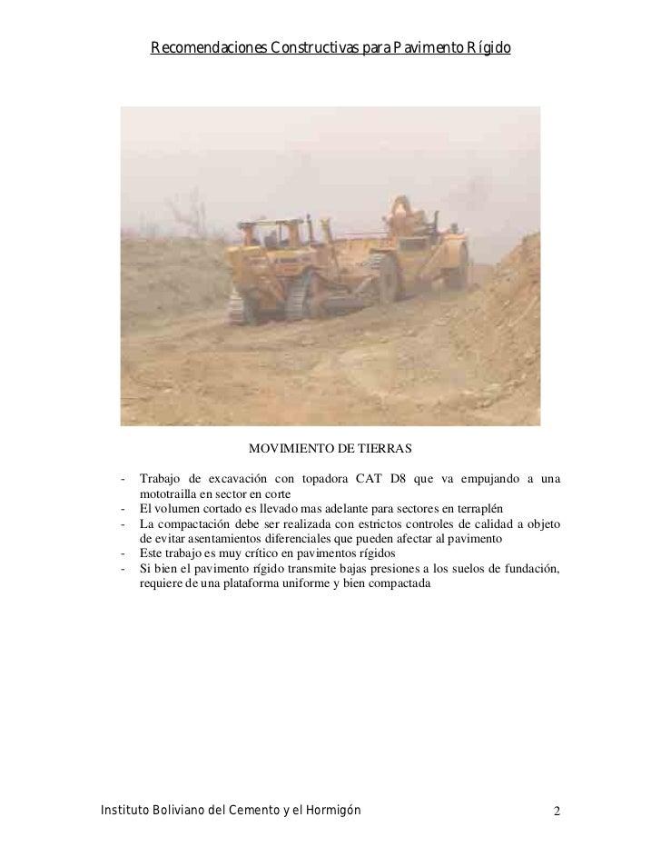 Recomendaciones Constructivas para Pavimento Rígido                                MOVIMIENTO DE TIERRAS     -   Trabajo d...