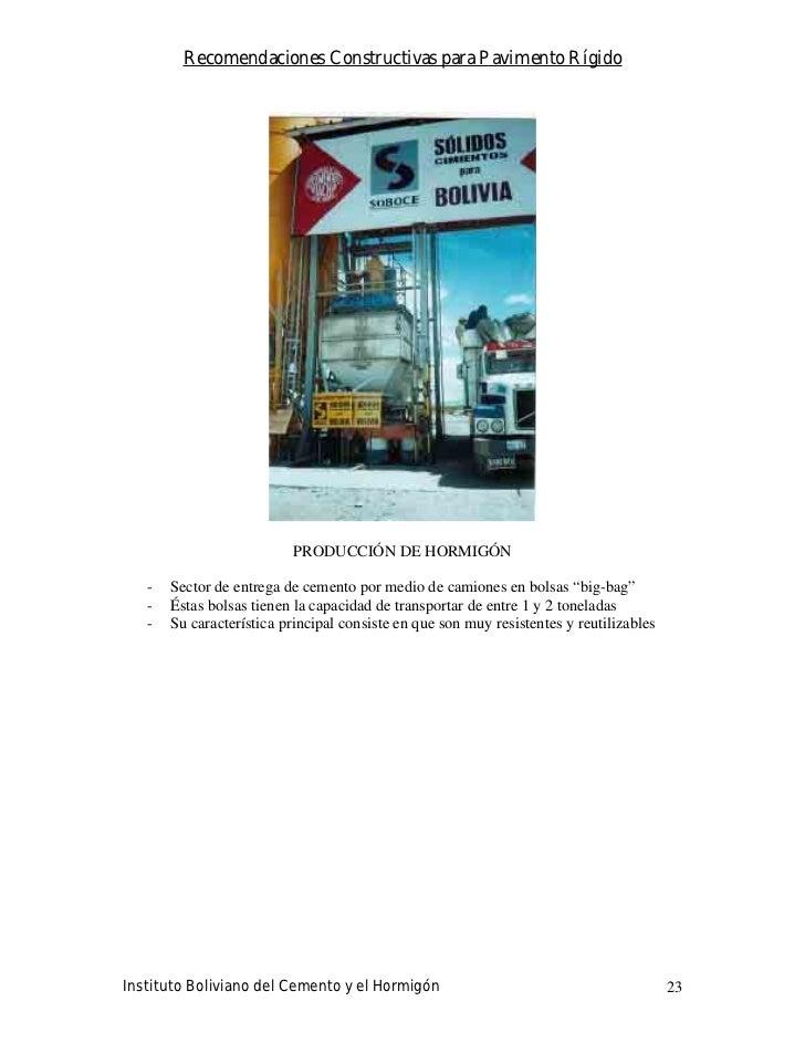 Recomendaciones Constructivas para Pavimento Rígido                                PRODUCCIÓN DE HORMIGÓN     -   Sector d...