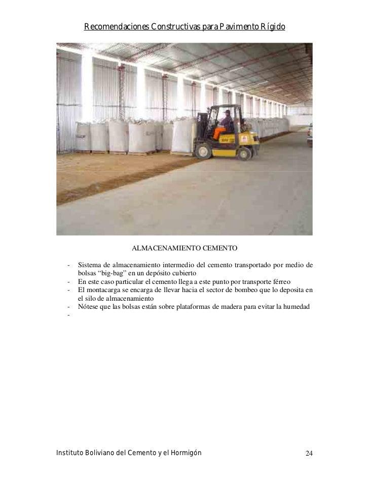 Recomendaciones Constructivas para Pavimento Rígido                             ALMACENAMIENTO CEMENTO     -   Sistema de ...