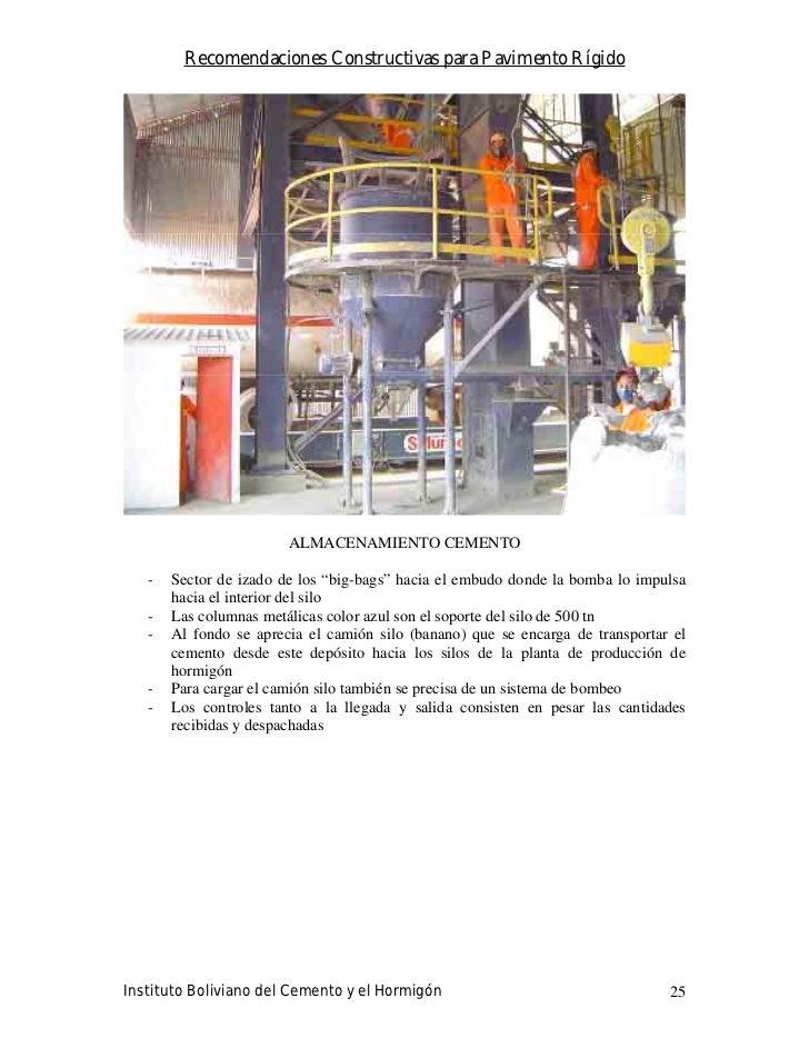 Recomendaciones Constructivas para Pavimento Rígido                             ALMACENAMIENTO CEMENTO     -   Sector de i...