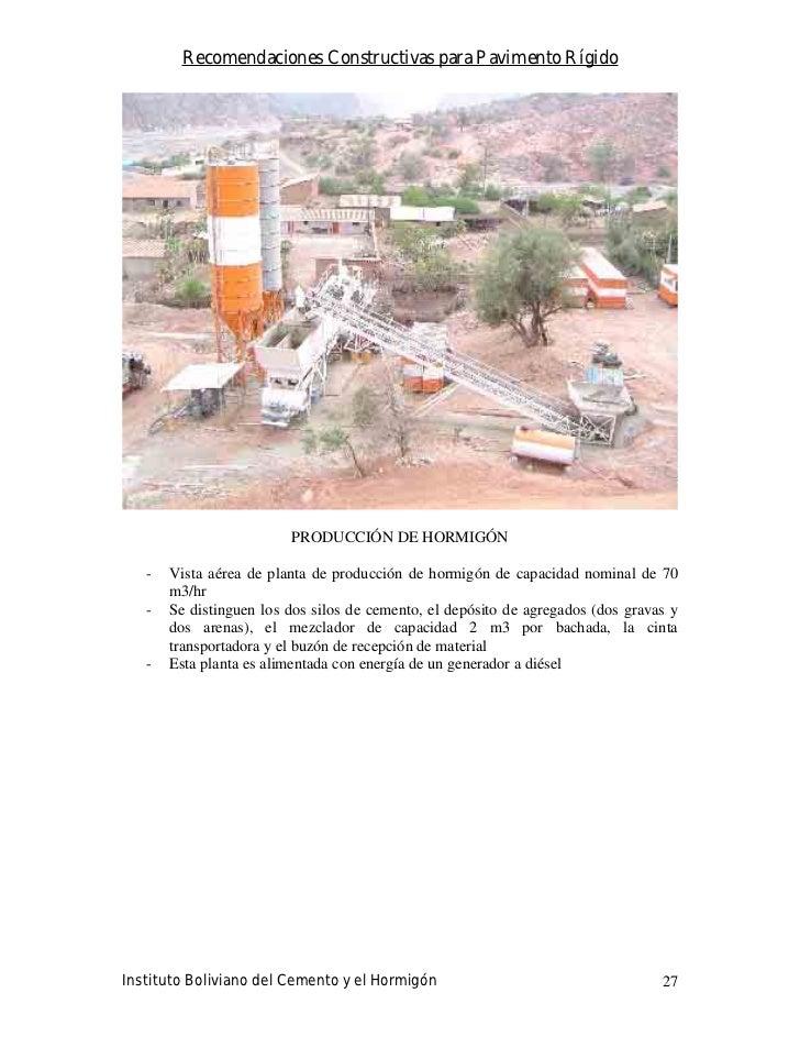 Recomendaciones Constructivas para Pavimento Rígido                              PRODUCCIÓN DE HORMIGÓN     -   Vista aére...