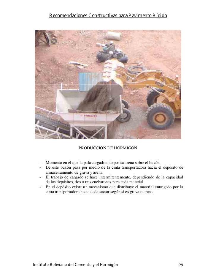 Recomendaciones Constructivas para Pavimento Rígido                              PRODUCCIÓN DE HORMIGÓN      -   Momento e...