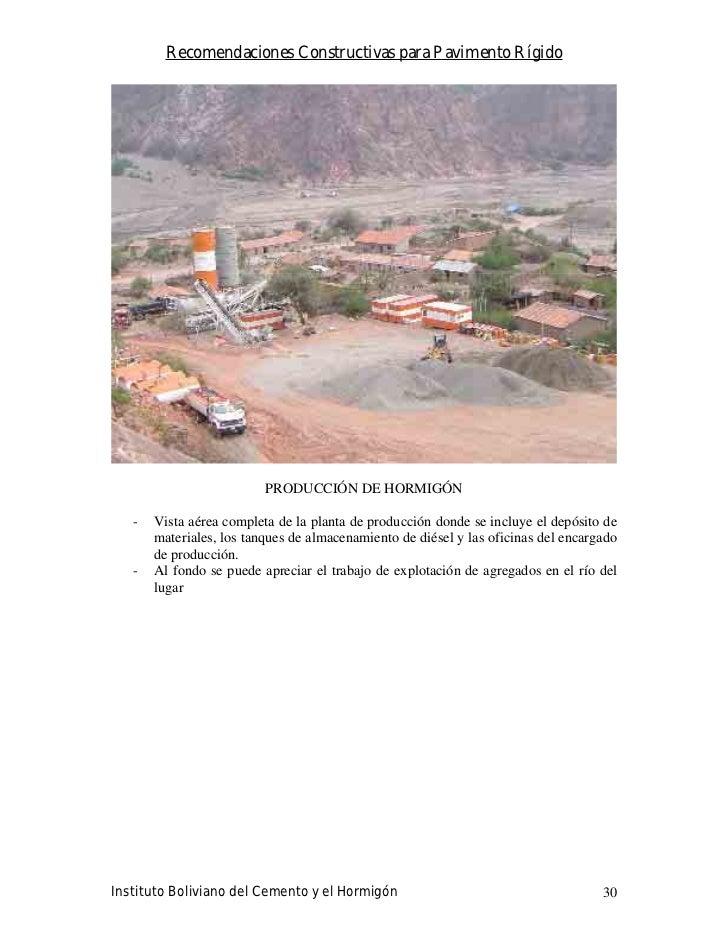 Recomendaciones Constructivas para Pavimento Rígido                               PRODUCCIÓN DE HORMIGÓN     -   Vista aér...