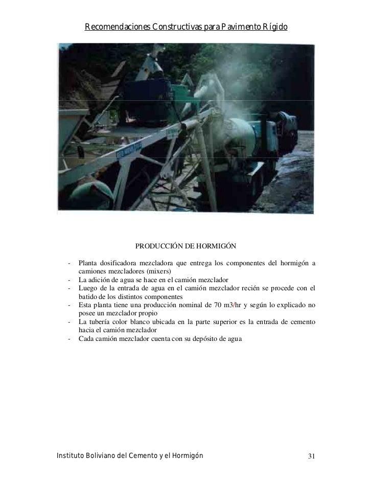 Recomendaciones Constructivas para Pavimento Rígido                              PRODUCCIÓN DE HORMIGÓN     -   Planta dos...
