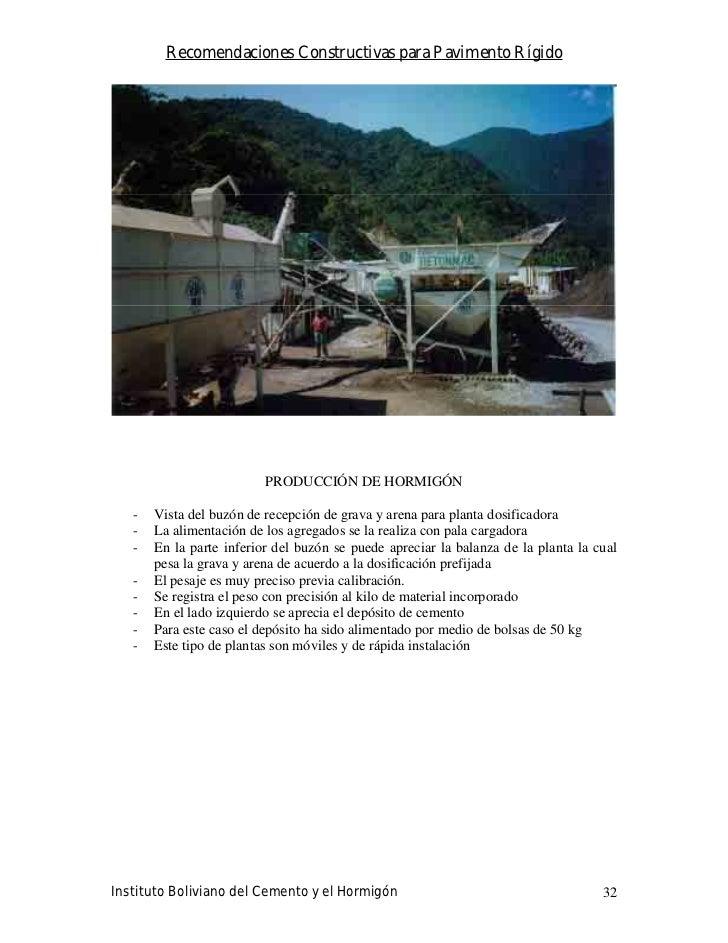 Recomendaciones Constructivas para Pavimento Rígido                               PRODUCCIÓN DE HORMIGÓN     -   Vista del...