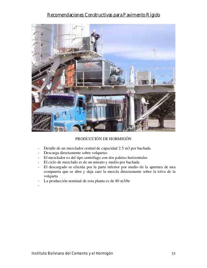 Recomendaciones Constructivas para Pavimento Rígido                              PRODUCCIÓN DE HORMIGÓN     -   Detalle de...