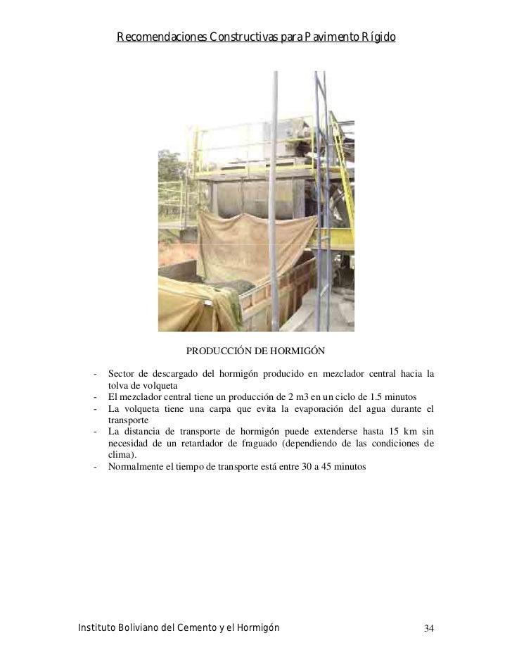 Recomendaciones Constructivas para Pavimento Rígido                              PRODUCCIÓN DE HORMIGÓN     -   Sector de ...