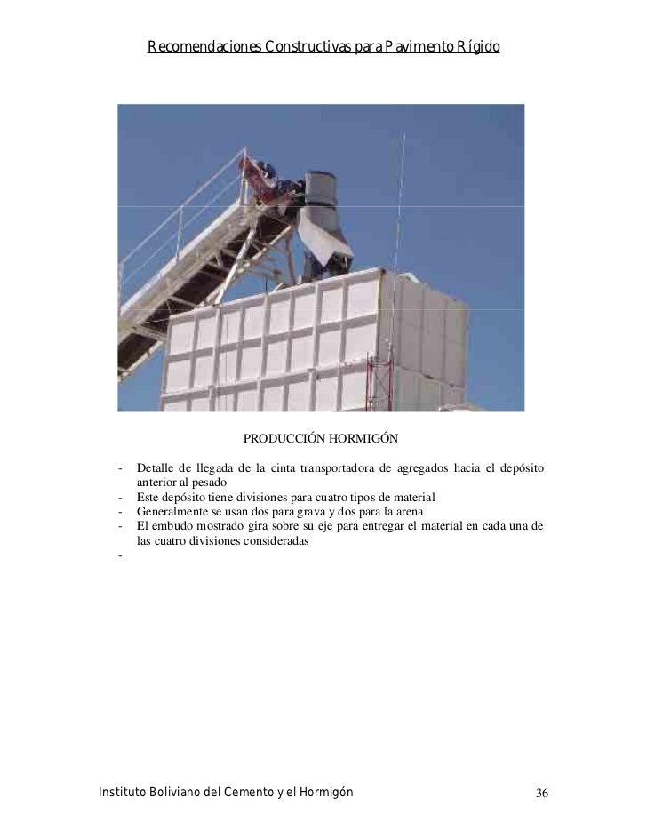 Recomendaciones Constructivas para Pavimento Rígido                                PRODUCCIÓN HORMIGÓN     -   Detalle de ...