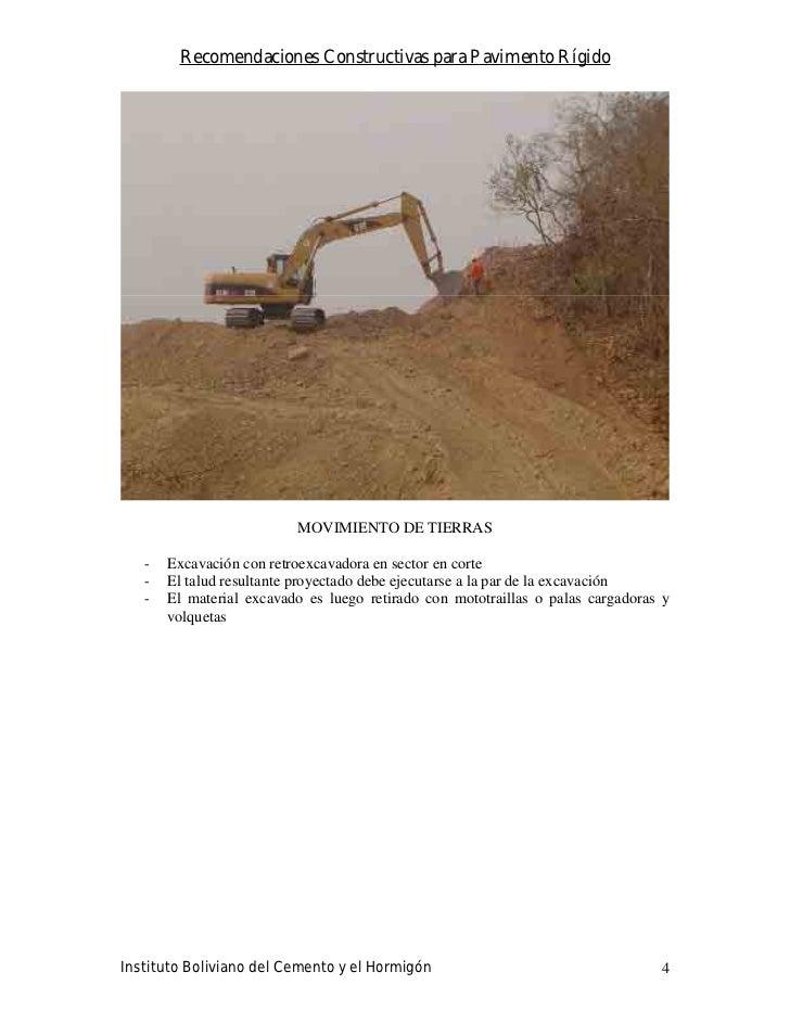 Recomendaciones Constructivas para Pavimento Rígido                               MOVIMIENTO DE TIERRAS     -   Excavación...