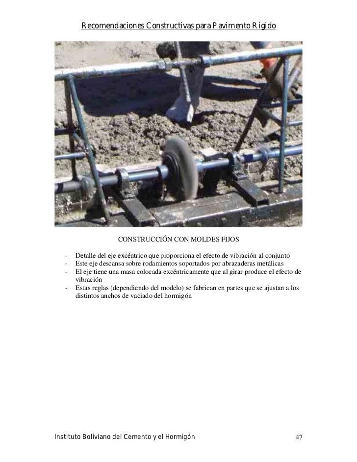 Recomendaciones Constructivas para Pavimento Rígido                           CONSTRUCCIÓN CON MOLDES FIJOS     -   Detall...