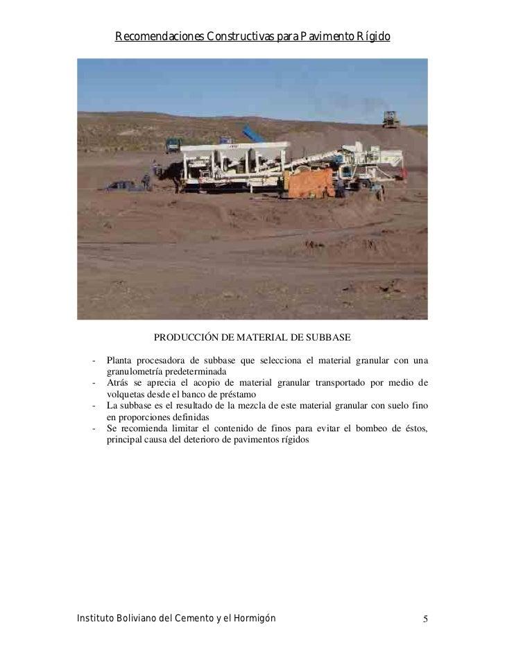 Recomendaciones Constructivas para Pavimento Rígido                       PRODUCCIÓN DE MATERIAL DE SUBBASE     -   Planta...