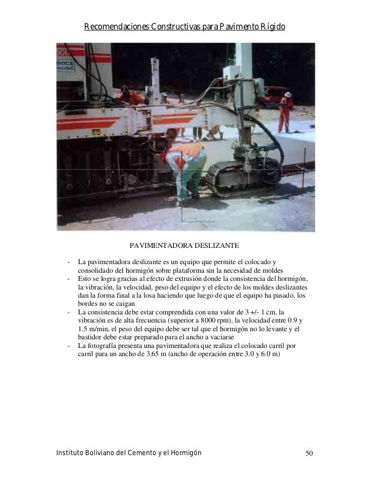 Recomendaciones Constructivas para Pavimento Rígido                              PAVIMENTADORA DESLIZANTE     -   La pavim...