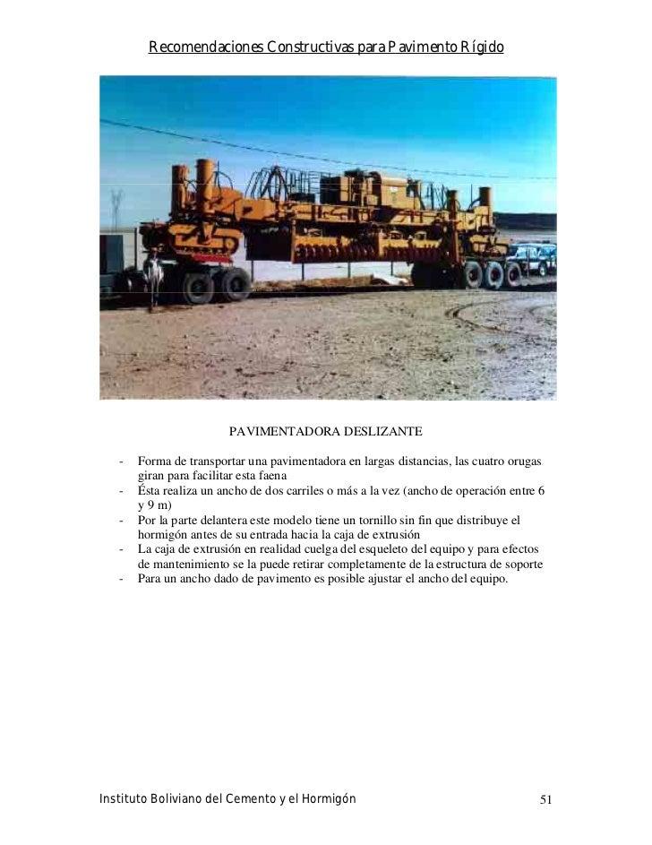 Recomendaciones Constructivas para Pavimento Rígido                              PAVIMENTADORA DESLIZANTE     -   Forma de...