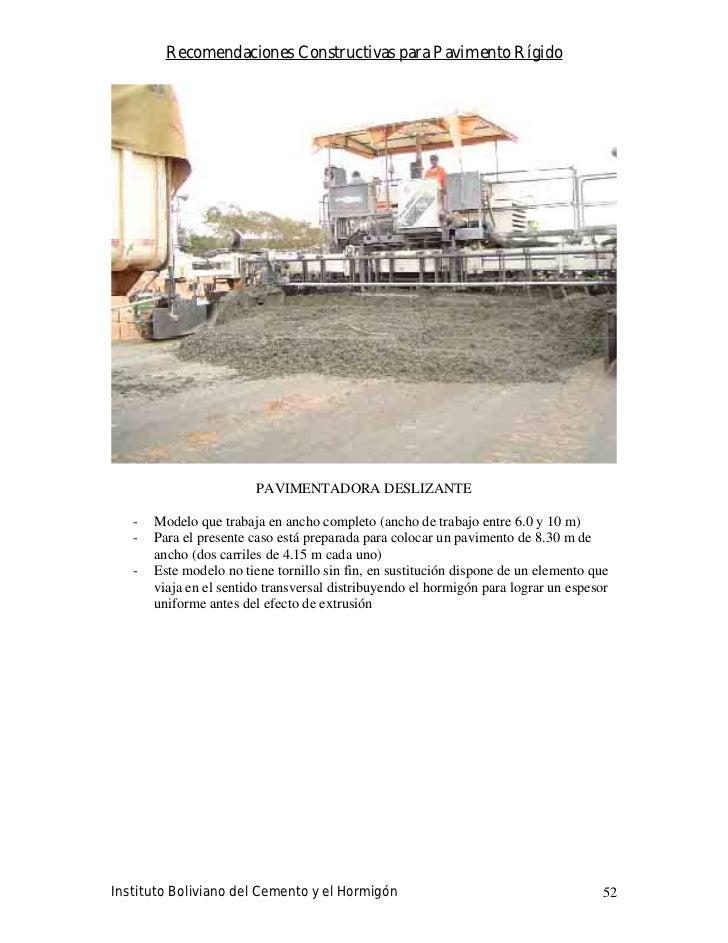 Recomendaciones Constructivas para Pavimento Rígido                              PAVIMENTADORA DESLIZANTE     -   Modelo q...