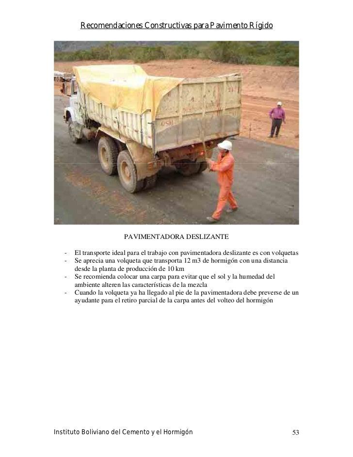 Recomendaciones Constructivas para Pavimento Rígido                             PAVIMENTADORA DESLIZANTE     -   El transp...