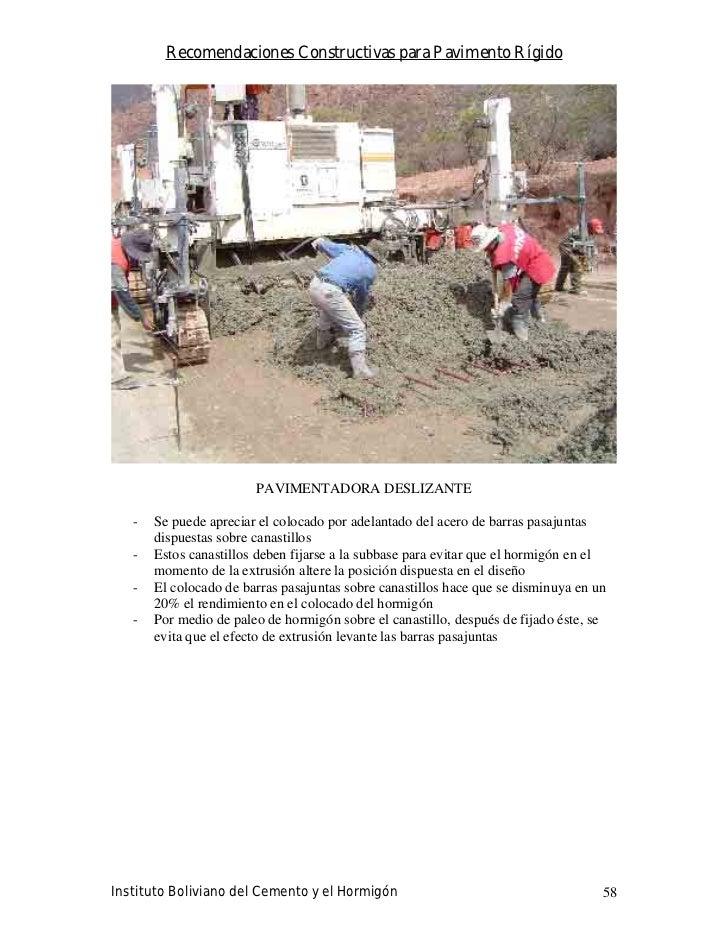 Recomendaciones Constructivas para Pavimento Rígido                             PAVIMENTADORA DESLIZANTE     -   Se puede ...
