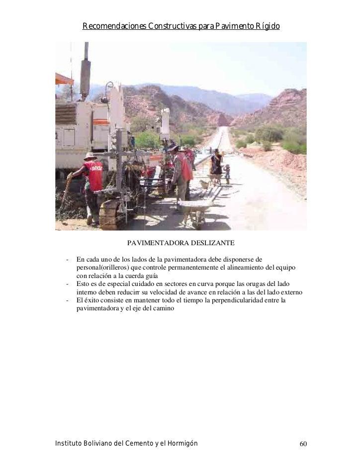 Recomendaciones Constructivas para Pavimento Rígido                              PAVIMENTADORA DESLIZANTE     -   En cada ...