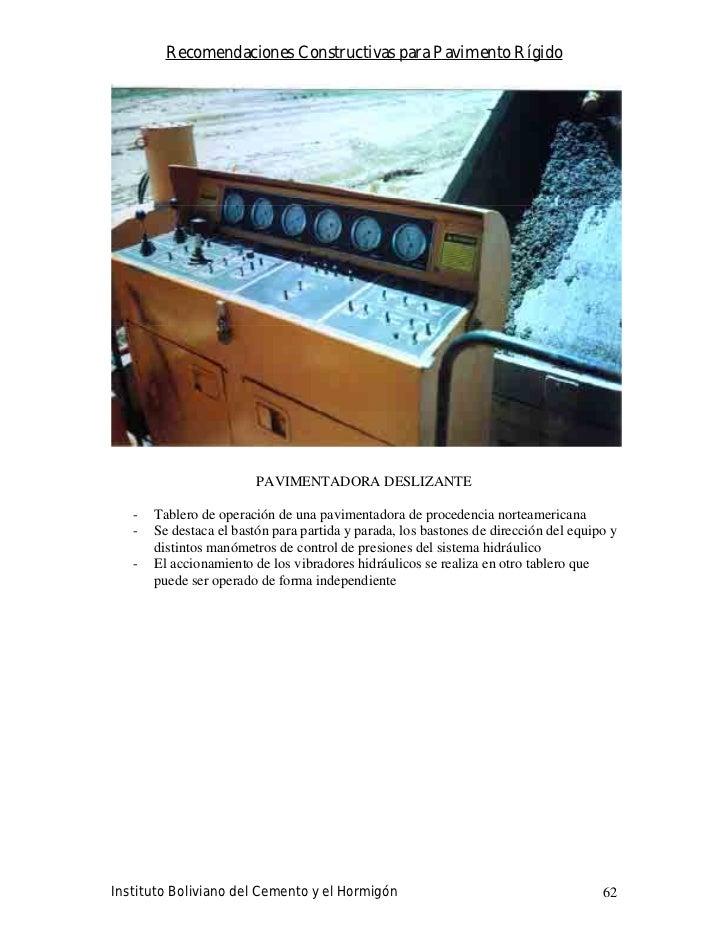Recomendaciones Constructivas para Pavimento Rígido                              PAVIMENTADORA DESLIZANTE     -   Tablero ...