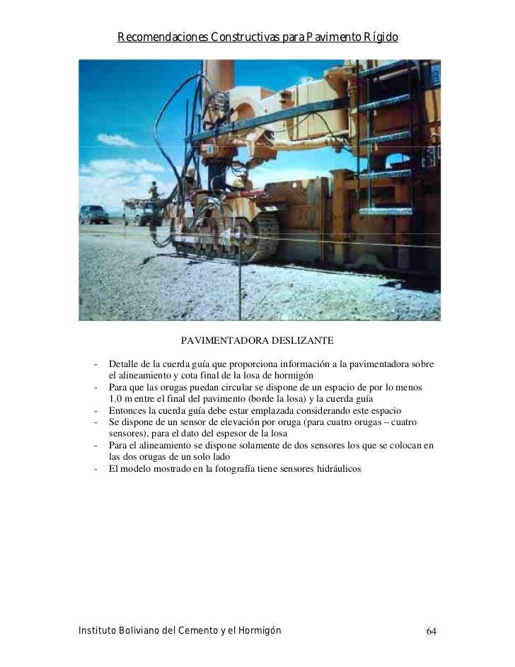 Recomendaciones Constructivas para Pavimento Rígido                             PAVIMENTADORA DESLIZANTE     -   Detalle d...