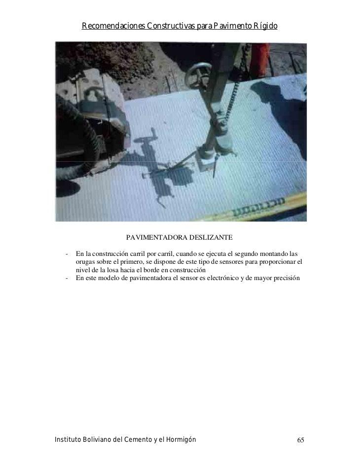 Recomendaciones Constructivas para Pavimento Rígido                              PAVIMENTADORA DESLIZANTE     -   En la co...