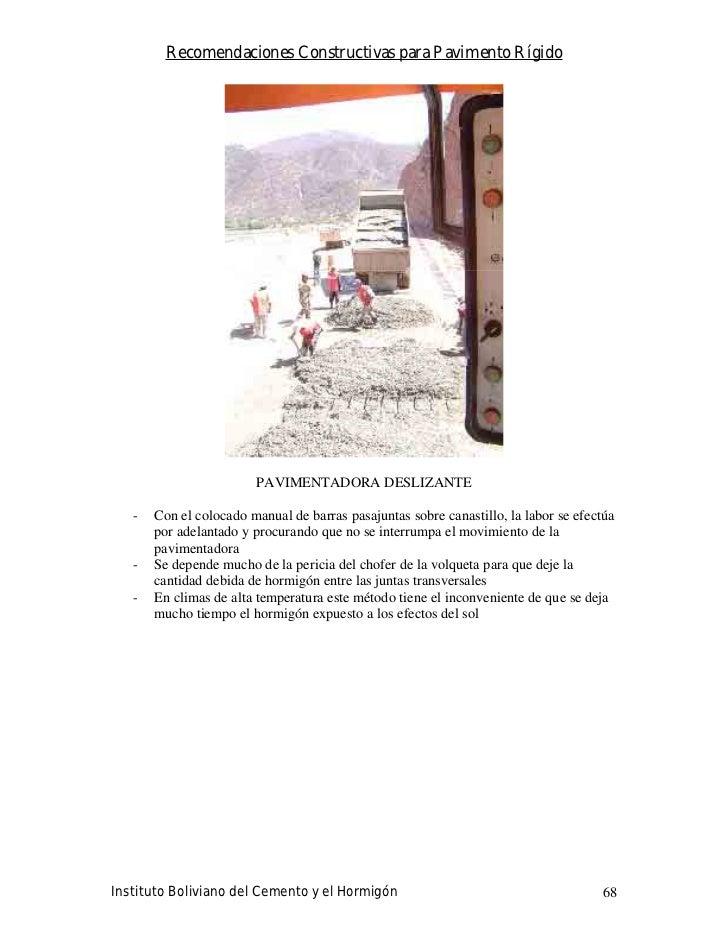 Recomendaciones Constructivas para Pavimento Rígido                             PAVIMENTADORA DESLIZANTE     -   Con el co...
