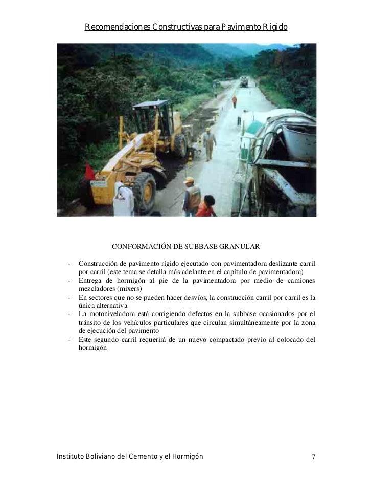 Recomendaciones Constructivas para Pavimento Rígido                       CONFORMACIÓN DE SUBBASE GRANULAR     -   Constru...