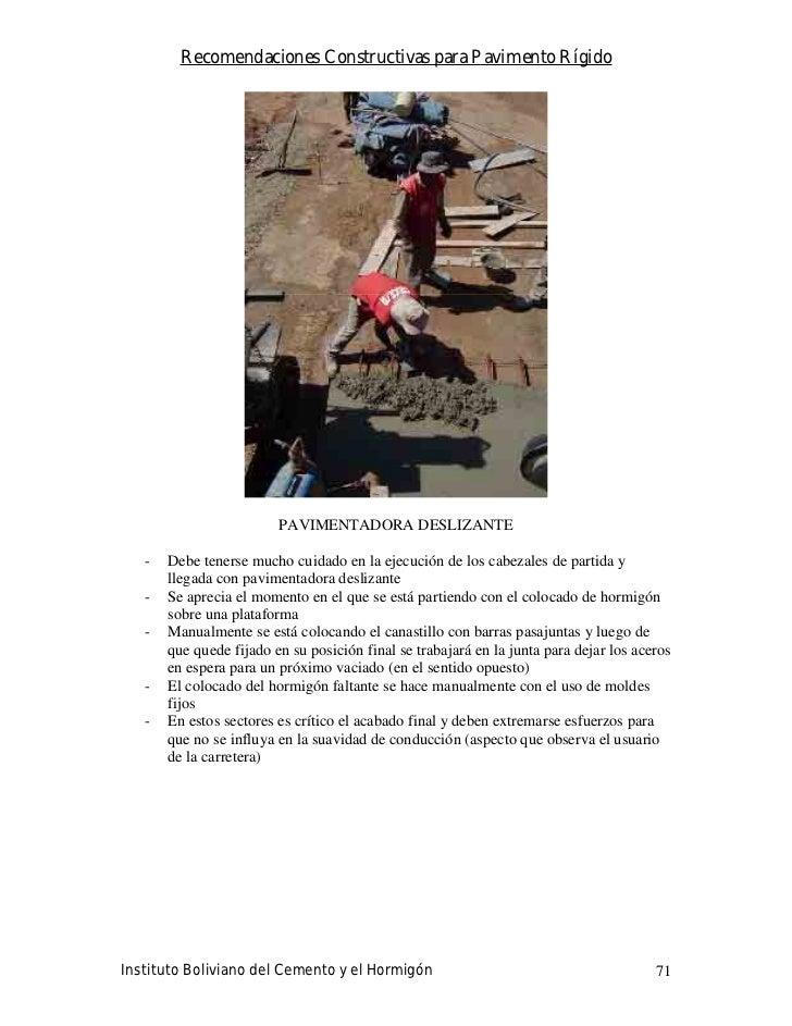 Recomendaciones Constructivas para Pavimento Rígido                              PAVIMENTADORA DESLIZANTE     -   Debe ten...