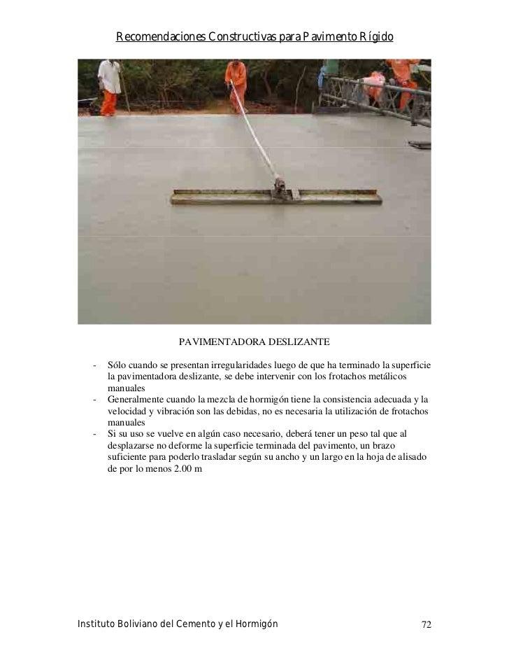 Recomendaciones Constructivas para Pavimento Rígido                              PAVIMENTADORA DESLIZANTE     -   Sólo cua...