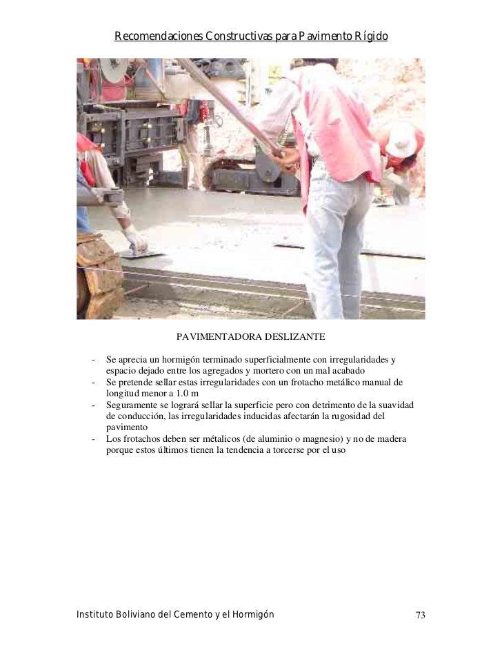 Recomendaciones Constructivas para Pavimento Rígido                             PAVIMENTADORA DESLIZANTE     -   Se apreci...