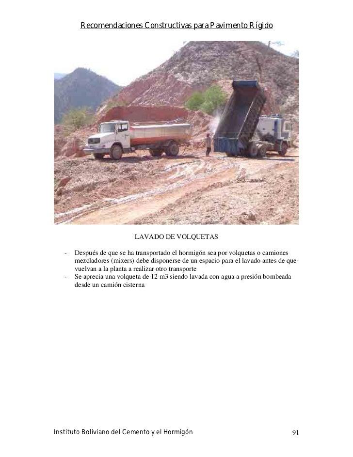 Recomendaciones Constructivas para Pavimento Rígido                                 LAVADO DE VOLQUETAS     -   Después de...