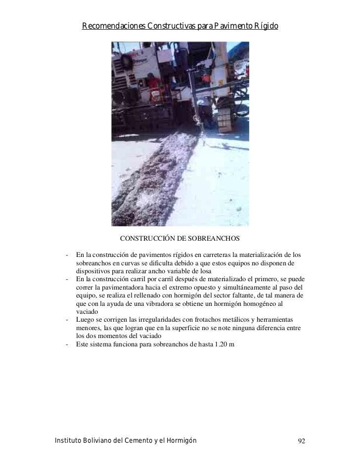 Recomendaciones Constructivas para Pavimento Rígido                           CONSTRUCCIÓN DE SOBREANCHOS     -   En la co...