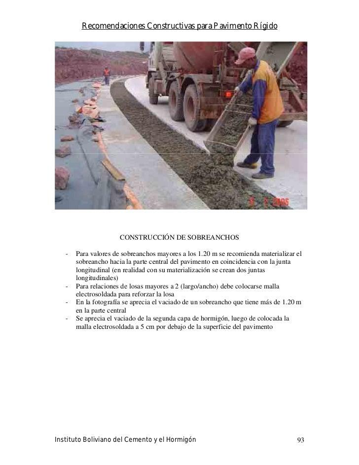Recomendaciones Constructivas para Pavimento Rígido                           CONSTRUCCIÓN DE SOBREANCHOS     -   Para val...