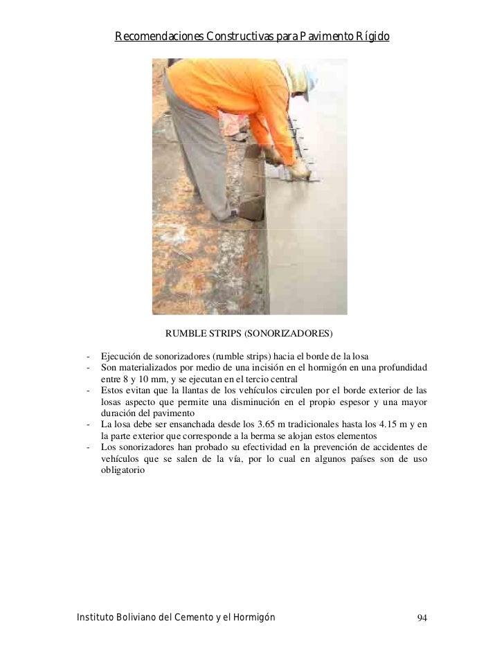 Recomendaciones Constructivas para Pavimento Rígido                           RUMBLE STRIPS (SONORIZADORES)    -   Ejecuci...
