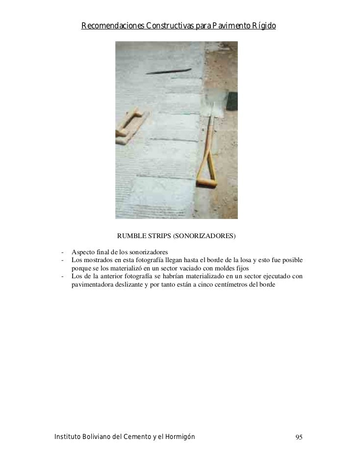 Recomendaciones Constructivas para Pavimento Rígido                           RUMBLE STRIPS (SONORIZADORES)    -   Aspecto...