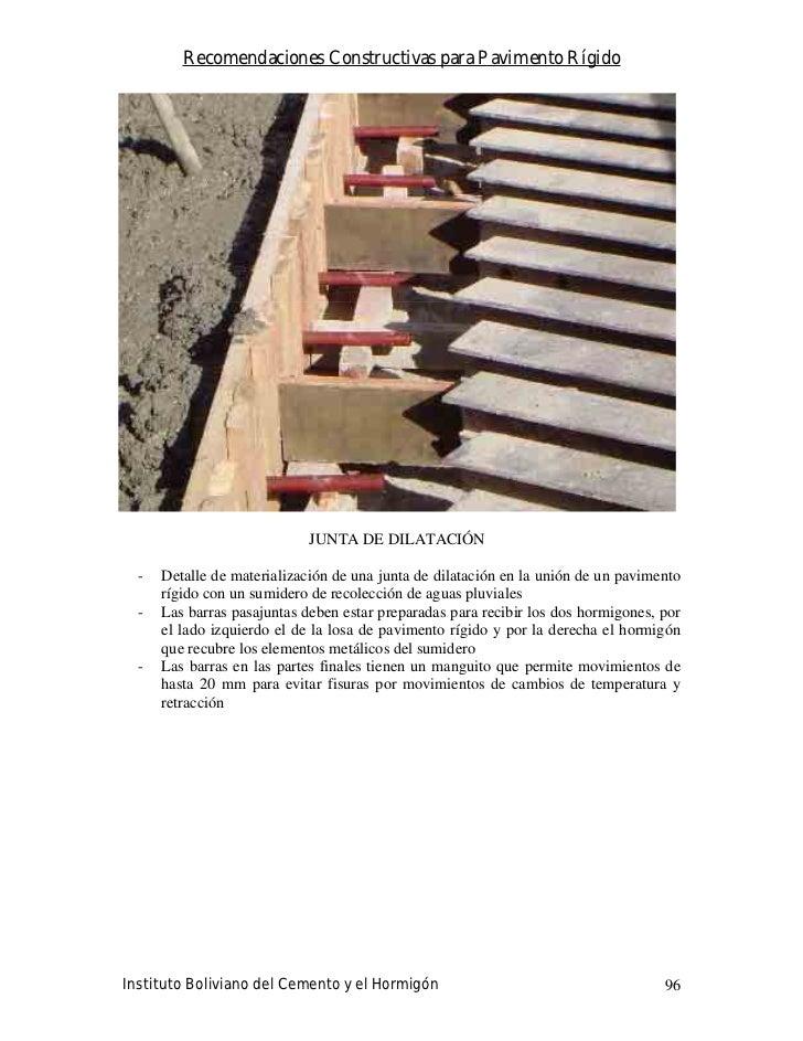 Recomendaciones Constructivas para Pavimento Rígido                                  JUNTA DE DILATACIÓN    -   Detalle de...