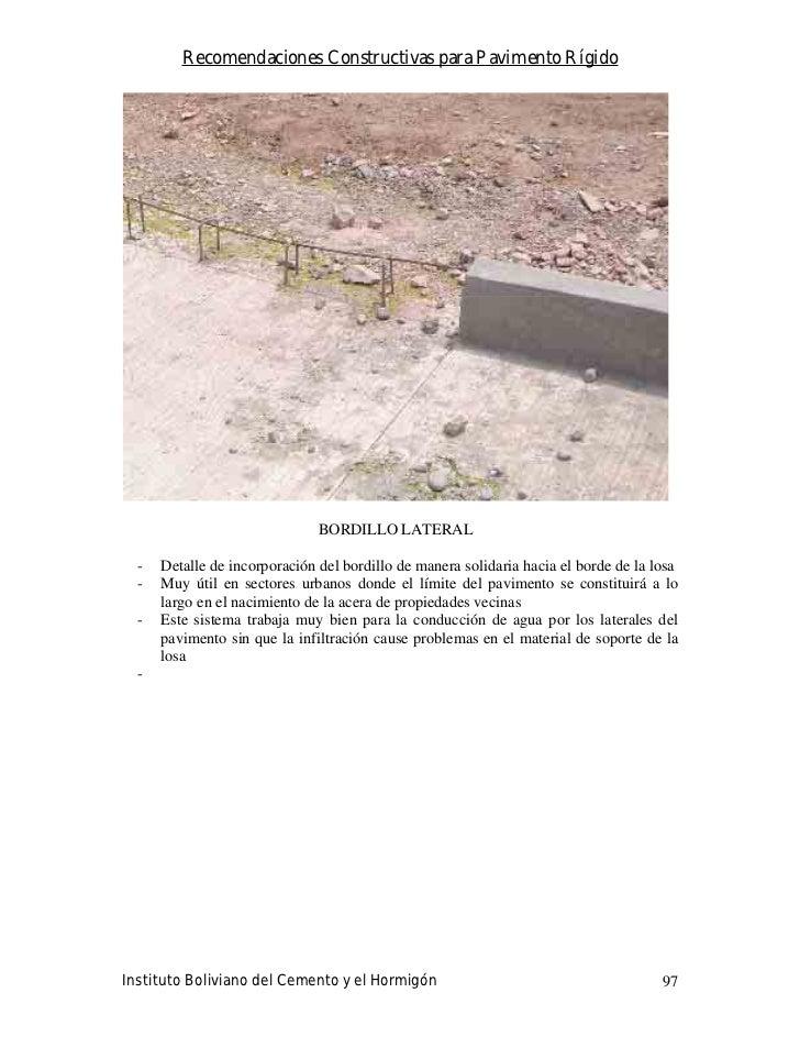Recomendaciones Constructivas para Pavimento Rígido                                    BORDILLO LATERAL    -   Detalle de ...