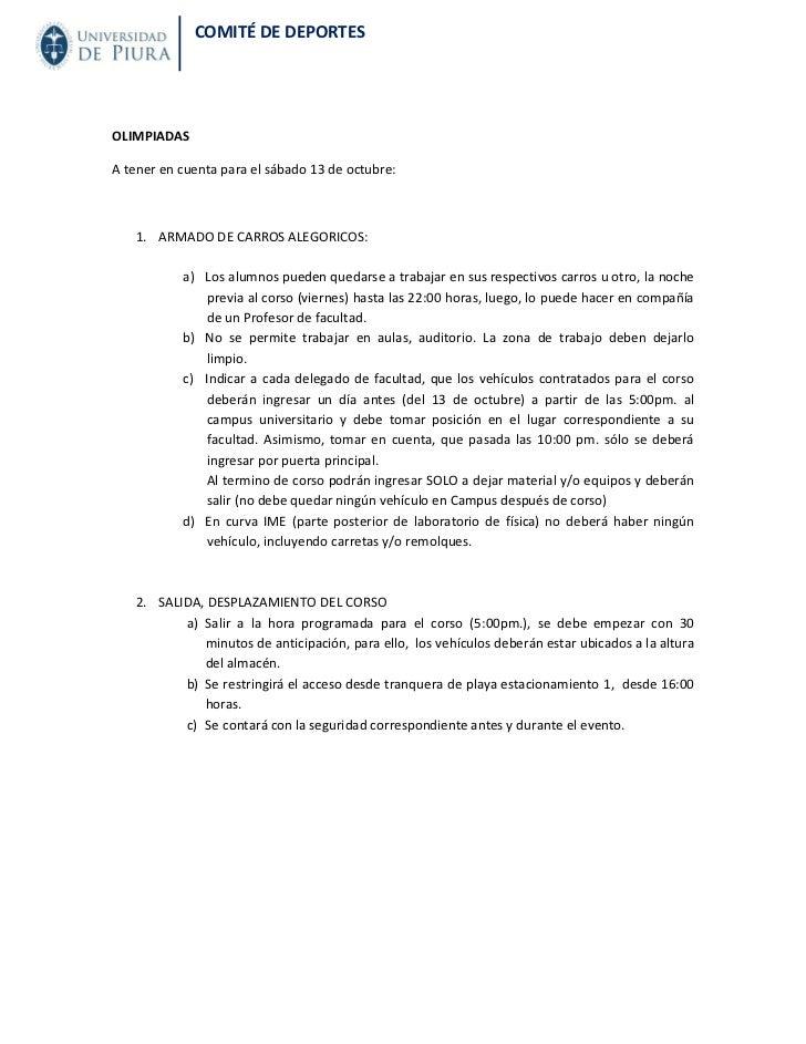 COMITÉ DE DEPORTESOLIMPIADASA tener en cuenta para el sábado 13 de octubre:   1. ARMADO DE CARROS ALEGORICOS:           a)...